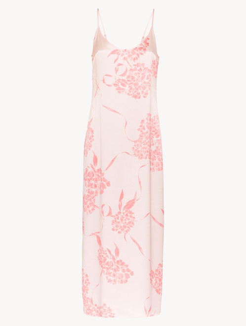 Silk long slip with soft pink florals