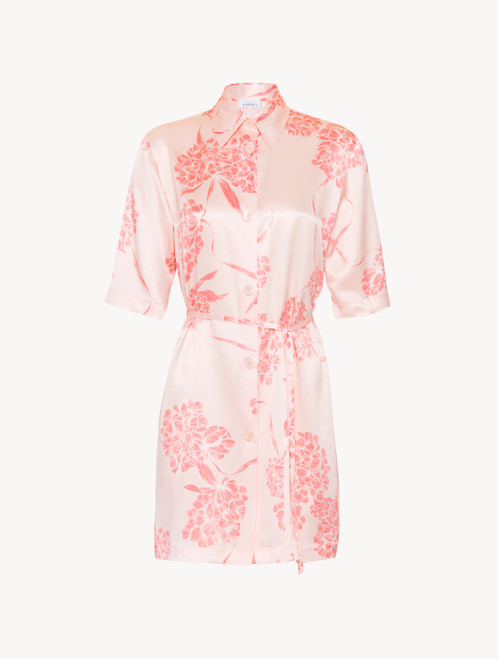 Silk nightshirt with soft pink florals