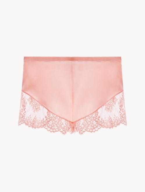Pink silk pyjama shorts with Leavers lace trim