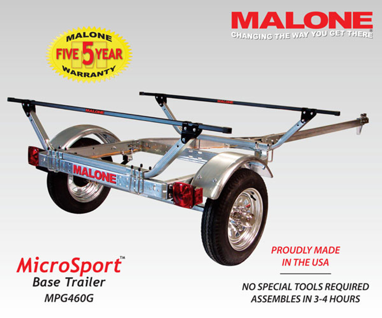 The microsport trailer fully assembled and ready for kayaks.