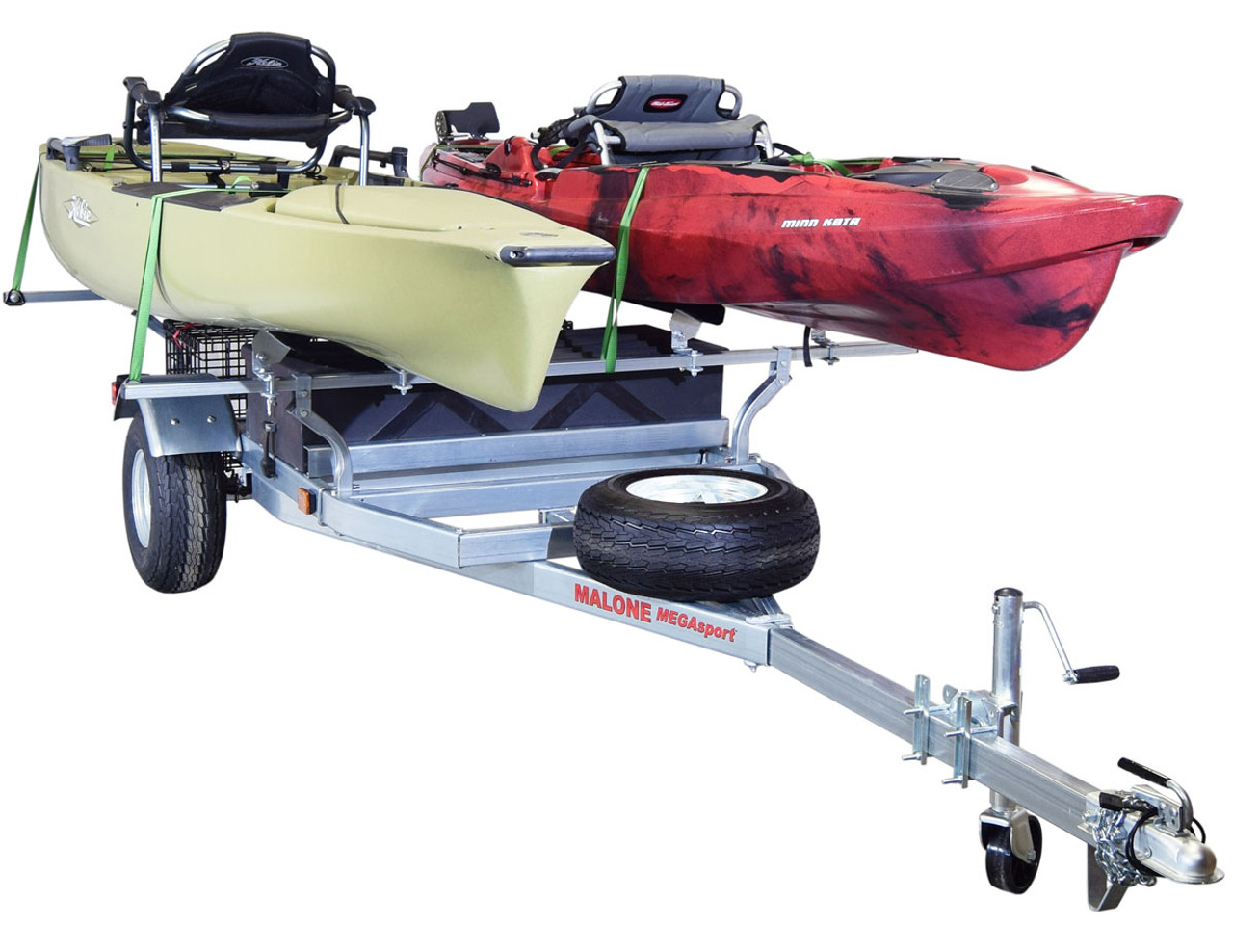 MegaSport 2 Kayak Trailer Pkg (Spare Tire, 2 Sets Bunks, Storage Basket & Drawer) (MPG550-H)