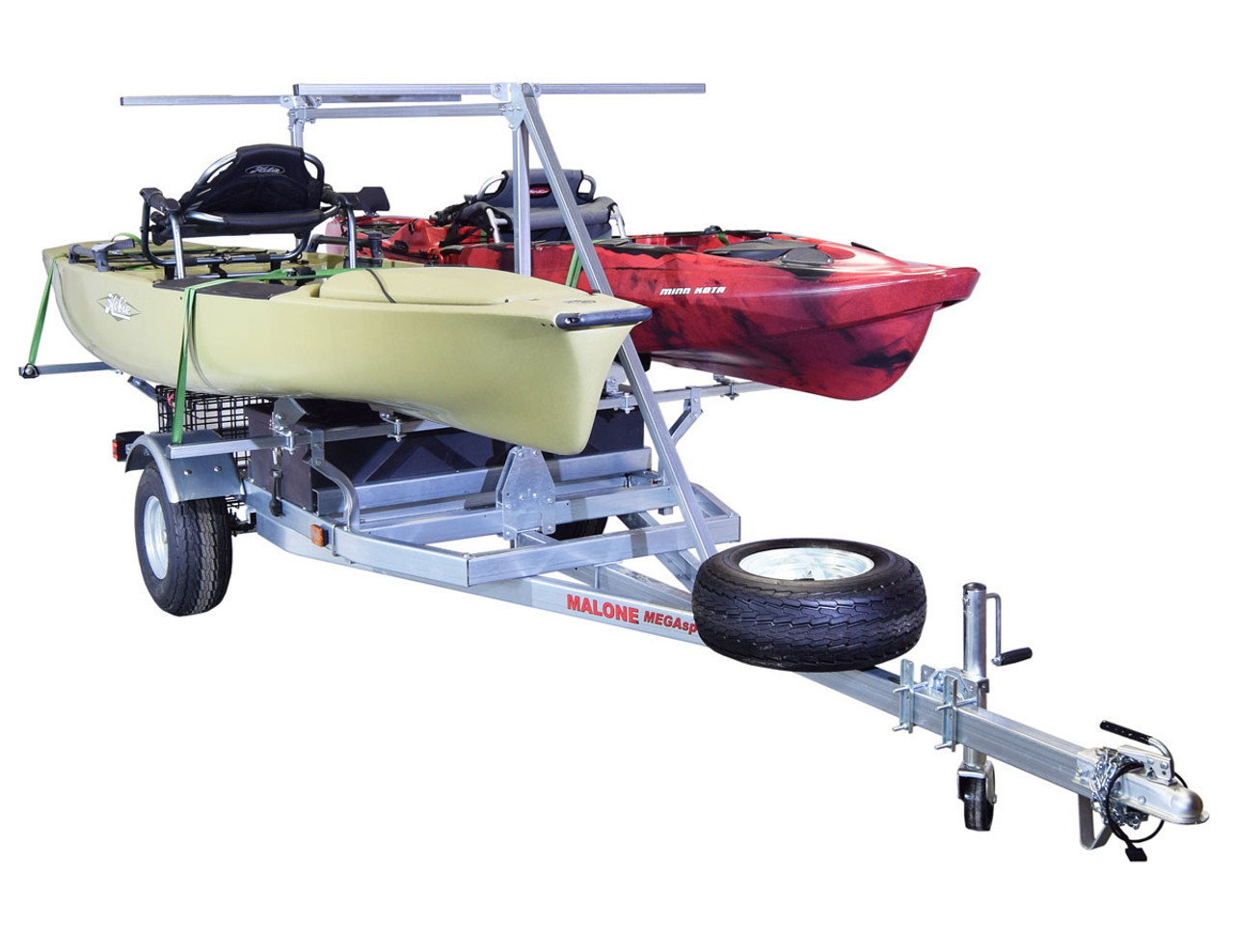 MegaSport 2-4 Kayak Trailer Pkg (Spare Tire, 2nd Tier, 2 Sets Bunks, Storage Basket & Drawer) (MPG550-TH)