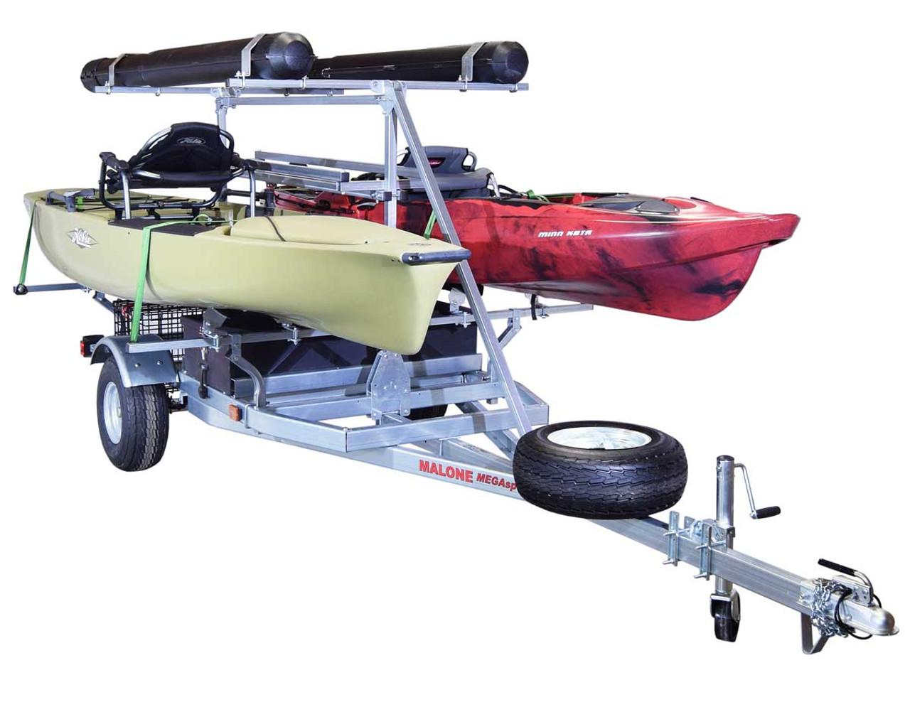 MegaSport 2-4 Kayak Trlr Pkg (Spare Tire, 2nd Tier, 2 Sets Bunks, Basket & Drawer,2 Rod tubes, Milk Crate Cage) (MPG550-AH)