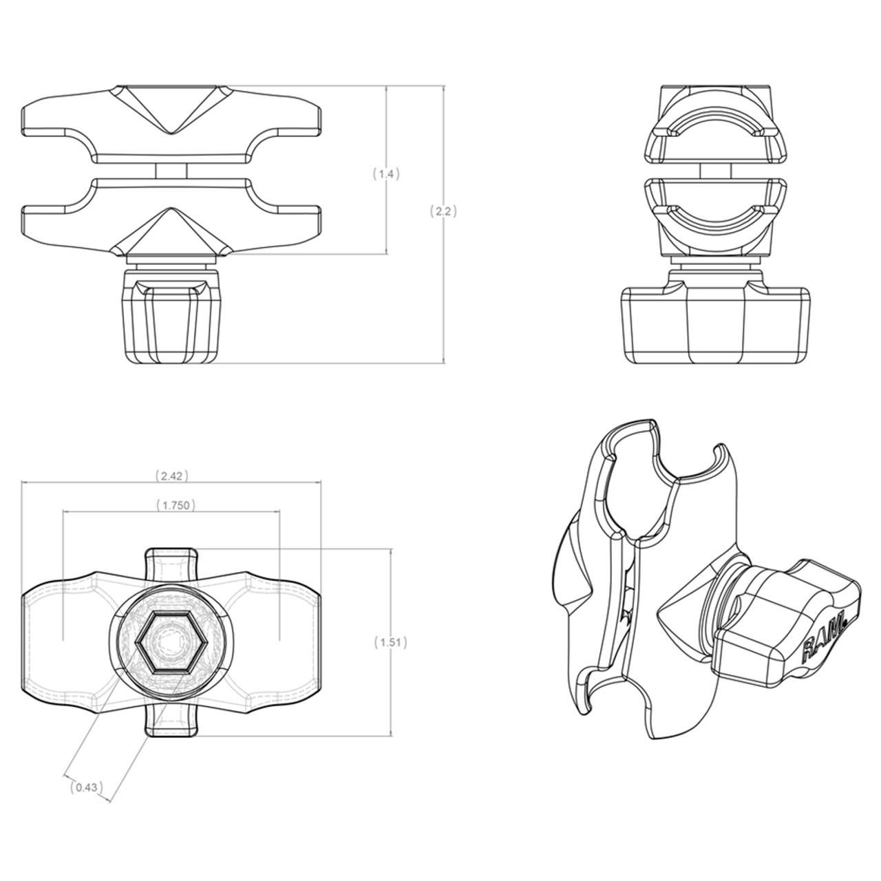 "RAM Mount Short Double Socket Arm f\/1"" Ball Bases [RAM-B-201U-A]"