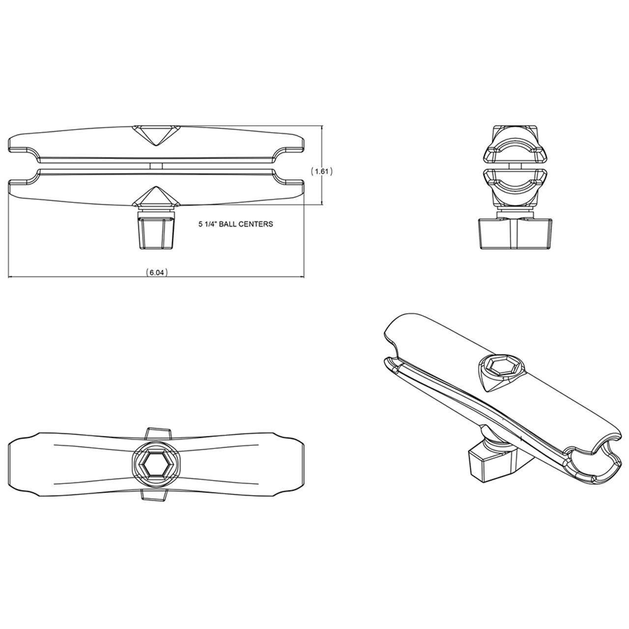 "RAM Mount Long Double Socket Arm f\/1"" Ball Bases [RAM-B-201U-C]"