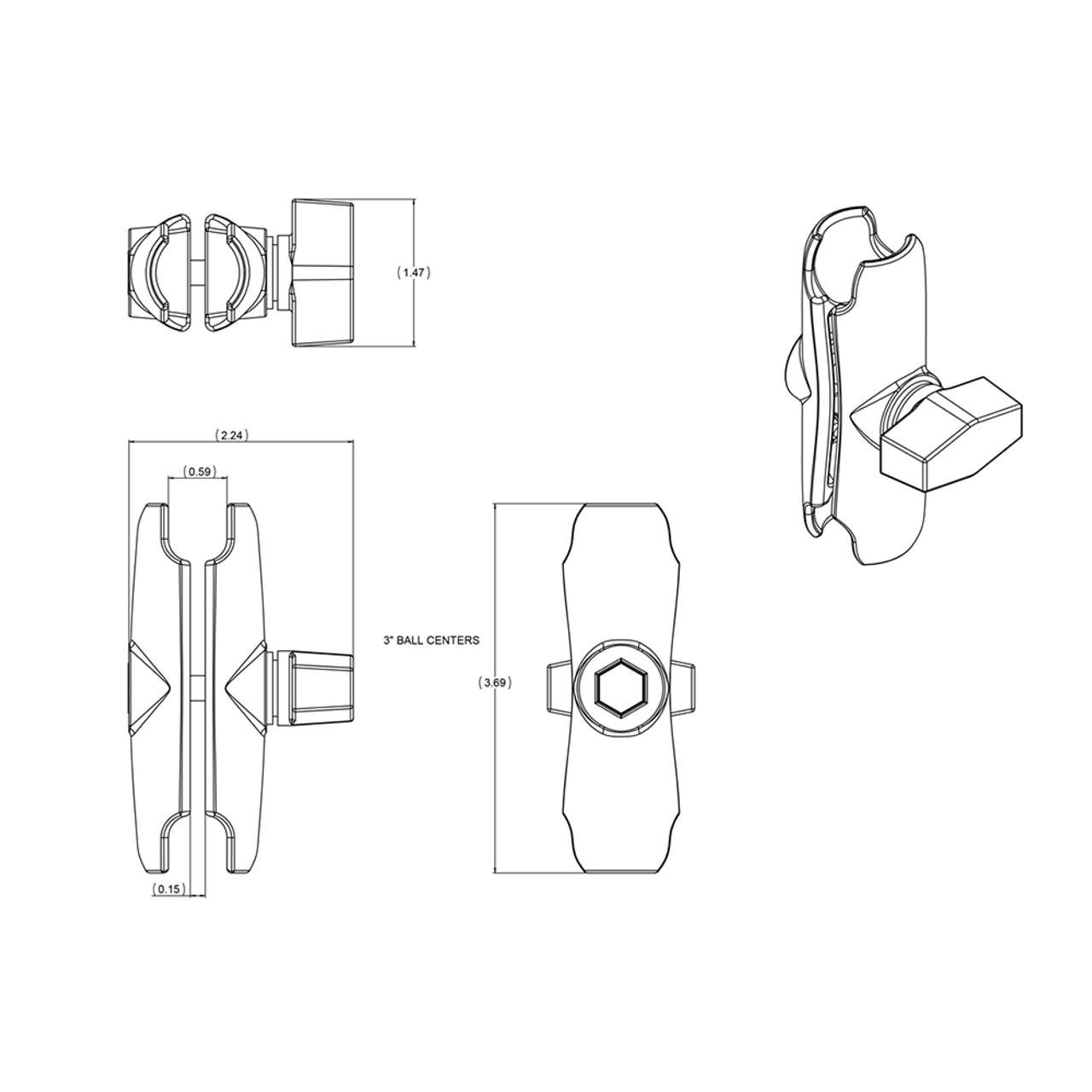 """RAM Mount Double Socket Arm f\/1"""" Ball [RAM-B-201U]"""