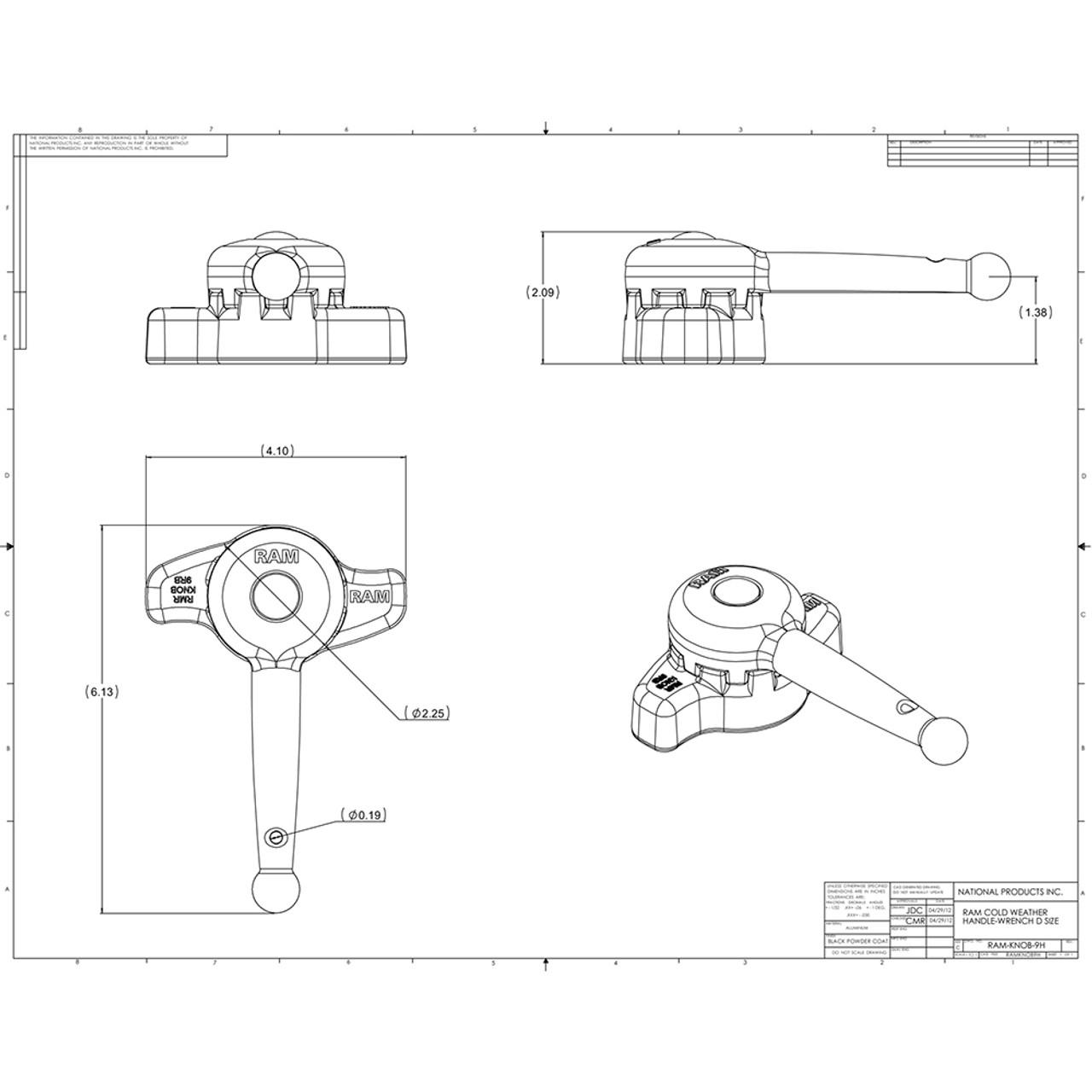 "RAM Mount Handle Wrench f\/""D"" Size Ball Arms & Mounts [RAM-KNOB9HU]"