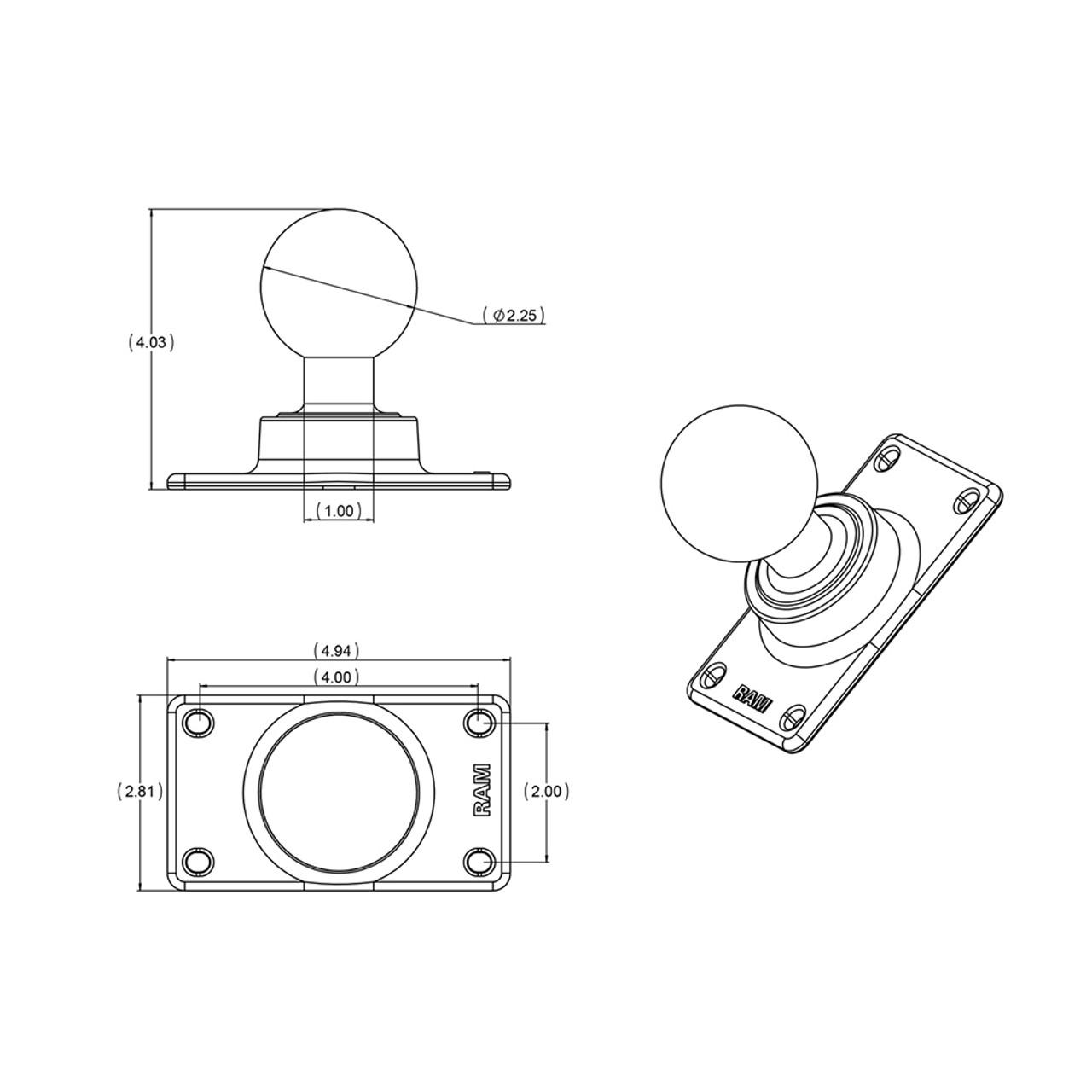 """RAM Mount 50mm x 100mm Half VESA Plate Adapter w\/D Size 2.25"""" Ball [RAM-D-243U]"""