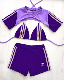 Custom reworked 3 piece set - 3 stripe Purple/Lilac
