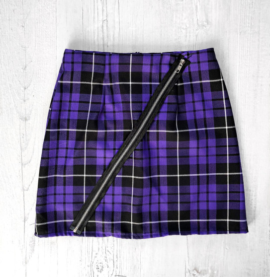Check Me Out Tartan skirt with zip detail