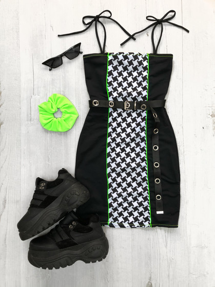 *NEW* GRIDLOCK tube mini dress - green