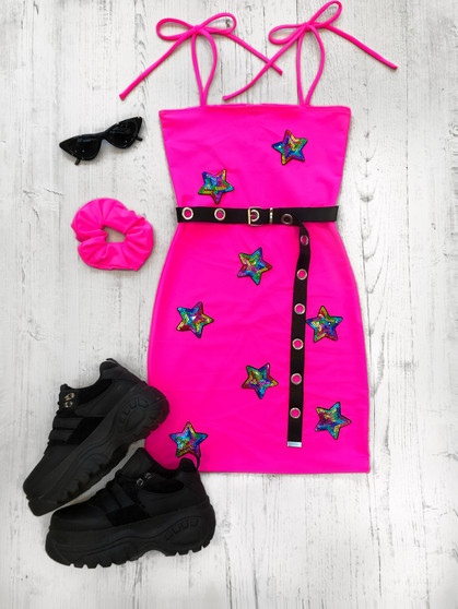 STARGAZER NEON PINK tube mini dress