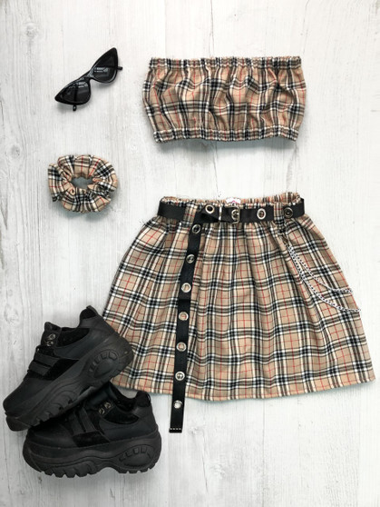 REWORKED CMO - 2 piece flared skirt & bandeau top.