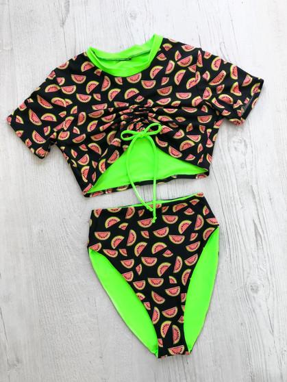JUICY Watermelon 2 piece ruched crop & high waist bottoms