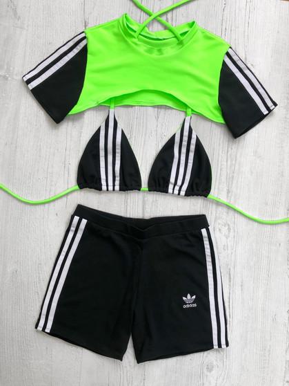 Custom reworked 3 piece set - 3 stripe BLACK/NEON GREEN