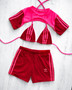 Custom reworked 3 piece set - 3 stripe Red