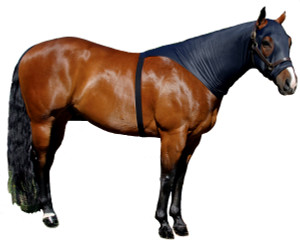 "If you are looking for a great product to train the mane without using a halter or sheet and you do not want to cover your horse's shoulders, try the Sleazy Brief. Along with our ""Seamless Face"" design this product allows the mane to be trained and stays on without the use of a halter to secure it. The Brief is available in 6 sizes and comes standard with a full separating zipper. It is made of nylon spandex and is available in Black only."