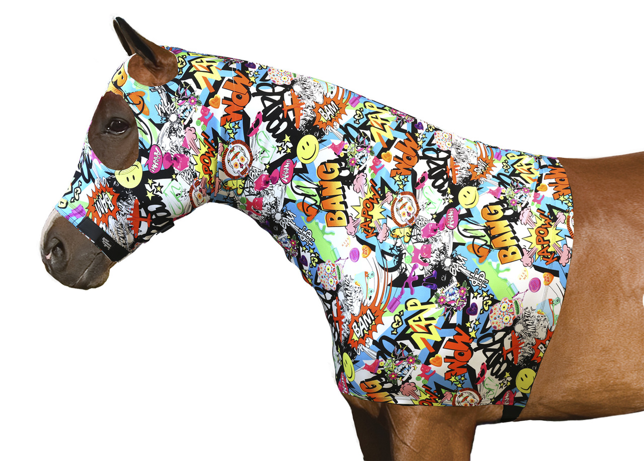 HORSE MANE TAMER SLEAZY LYCRA MESH ZIPPERED HOOD BRAID SHOULDER GUARD ALL SIZES