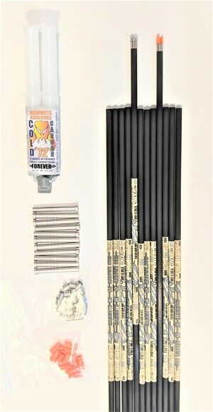 12 FOC KING STEEL FOOTED 325 SPINE ARROW SHAFTS & FREE COLD CARBON 72 EPOXY