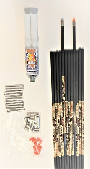 12 FAD ELIMINATOR STEEL FOOTED 125 SPINE ARROW SHAFTS & FREE COLD CARBON 72 EPOXY