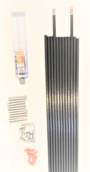 12 VIRGIN FAD ELIMINATOR STEEL FOOTED 125 SPINE ARROW SHAFTS & FREE COLD CARBON 72 EPOXY