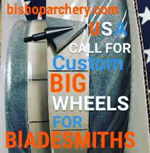 10 inch by 1 1/4 inch fat bladesmith paper wheels(one slotted and one gritted wheel), silicon carbide, wax, jewelers rouge and instructions.