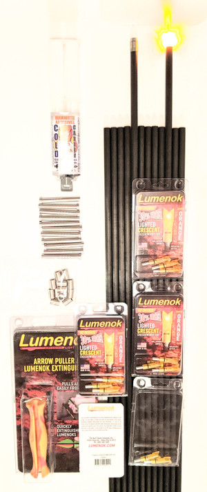12 CROSSBOW LUMENOK MAMMOTH .2445 CAPTURE LIGHTED NOCKS & 12 VIRGIN GOAT 0 SPINE STEEL FOOTED 22/64 ARROW SHAFTS & LUMENOK EXTINGUISHER & COLD CARBON 72