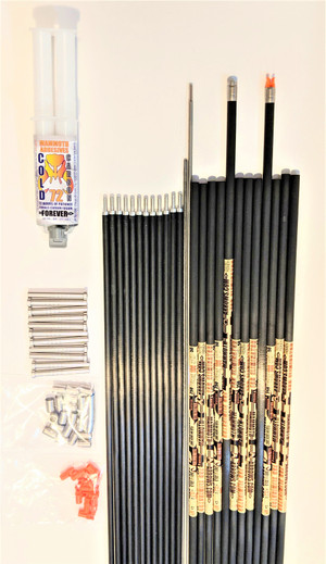12 FAD ELIMINATOR STEEL FOOTED 125-50 SPINE ARROW SHAFTS & PINK TUSK FUSION RODS & FUSION ROD WRENCH & REMOVAL TOOL & COLD CARBON 72 EPOXY
