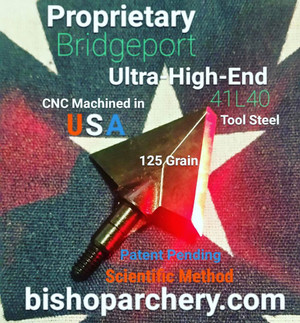 SOLD OUT!!! PRE-ORDER ONLY (EXPECTED SHIP DATE JANUARY 2021) ONE TEST HEAD - 125 GRAIN PROPRIETARY BRIDGEPORT 41L40 TOOL STEEL SCIENTIFIC METHOD