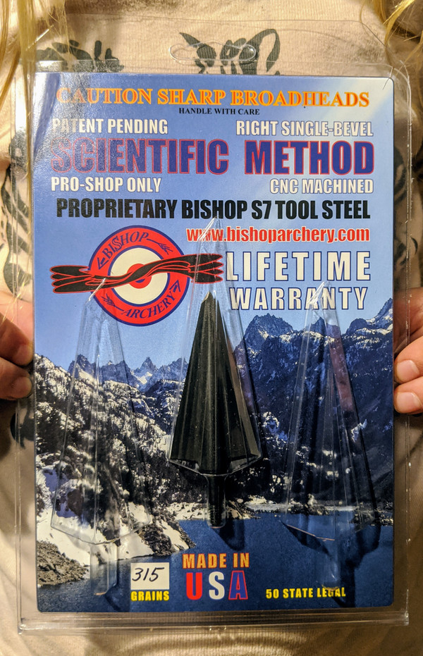 SOLD OUT!!!  PRE-ORDER ONLY (EXPECTED SHIP DATE JUNE, 2021)  ONE TEST HEAD - 315 GRAIN PROPRIETARY BISHOP S7 TOOL STEEL SCIENTIFIC METHOD