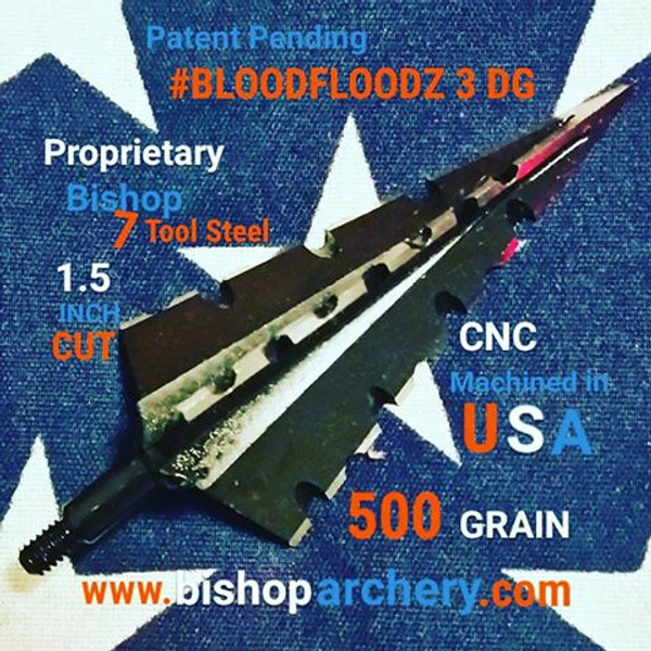 BACK IN STOCK!!!  ONE TEST HEAD 500 GRAIN PROPRIETARY BISHOP S7 TOOL STEEL NON-VENTED 1.5 INCH CUT #BLOODFLOODZ 3 DG