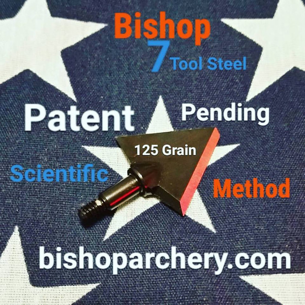 SOLD OUT... (PRE-ORDER ONLY EXPECTED SHIP DATE DECEMBER 2019) ONE TEST HEAD - 125 GRAIN PROPRIETARY BISHOP S7 TOOL STEEL SCIENTIFIC METHOD