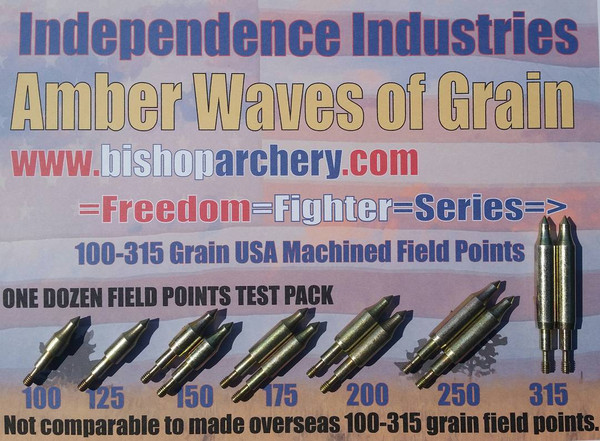 BACK IN STOCK!!! ONE DOZEN 100-315 GRAIN MACHINED FIELD POINT TEST PACK