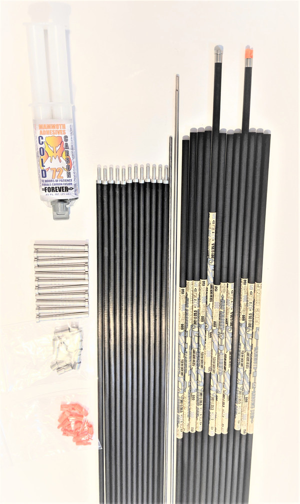 12 FOC KING STEEL FOOTED 325-150 SPINE ARROW SHAFTS & 12 PINK TUSK FUSION RODS & FUSION ROD WRENCH & REMOVAL TOOL & COLD CARBON 72 EPOXY