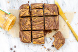 Fudgy Flourless Brownies with a Nut Butter Swirl