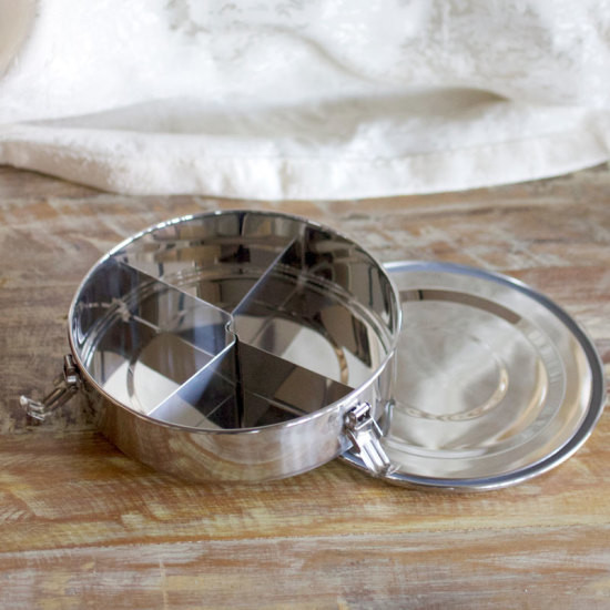Stainless Steel Lunch Box with Removable Dividers - Round 1
