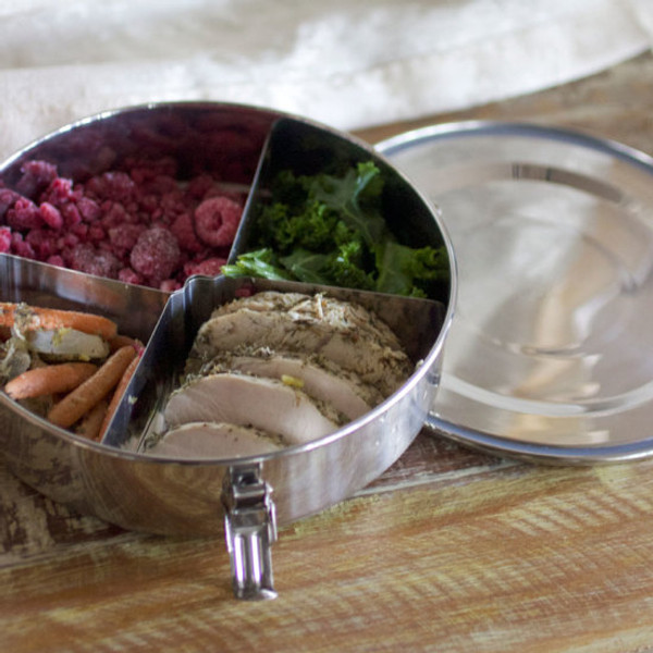 Stainless Steel Lunch Box with Removable Dividers - Round