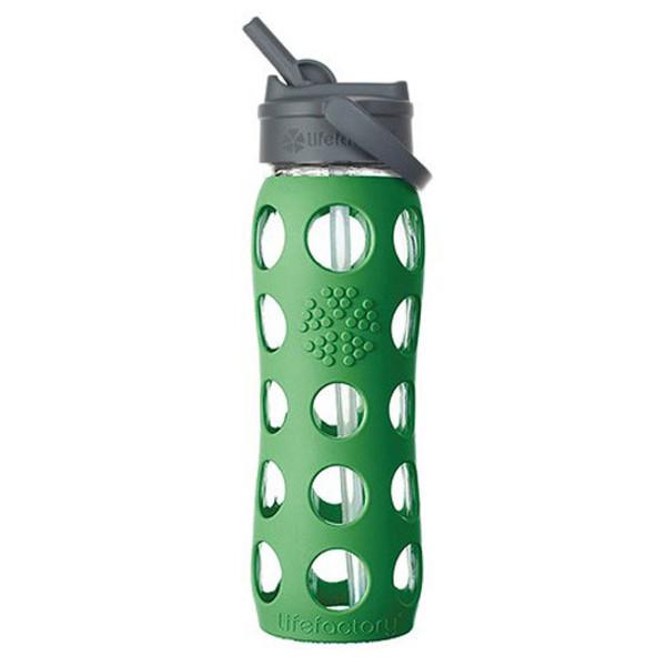 22 oz Glass Bottle w/ Straw Cap green