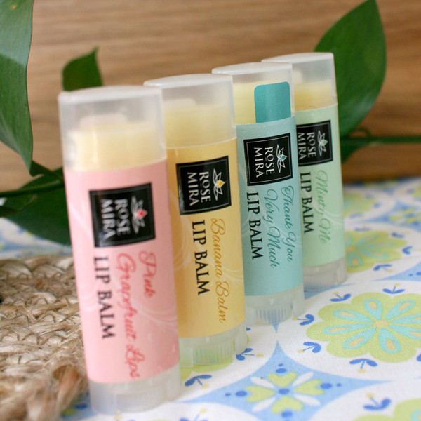 Lip Balm Kit - 4 0.15 oz Balms (Banana Balm/minty Me/Pink Grapefruit Lips/Thank you Very Much)