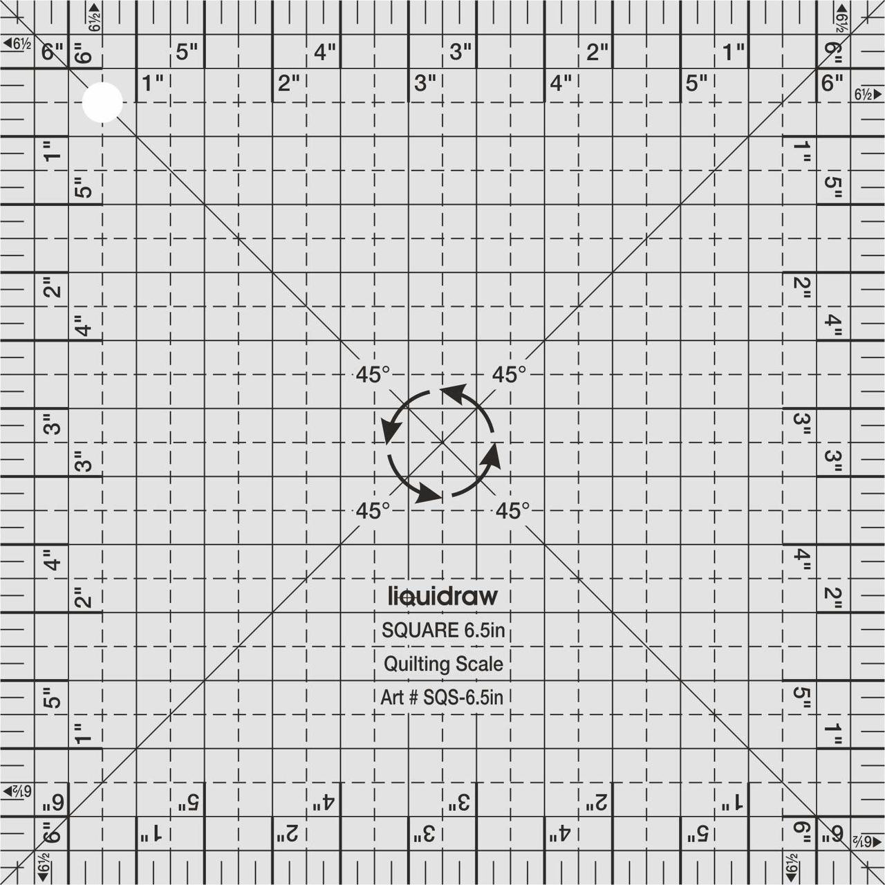 """Square Quilting Ruler, 6.5"""" x 6.5"""""""