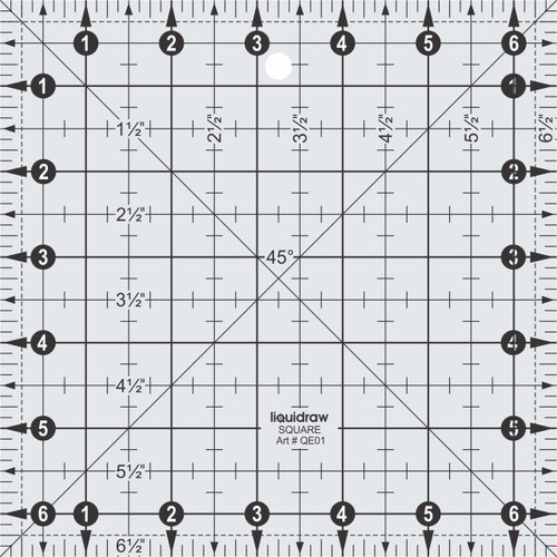 """Square Quilting Ruler 6.5"""" x 6.5"""""""