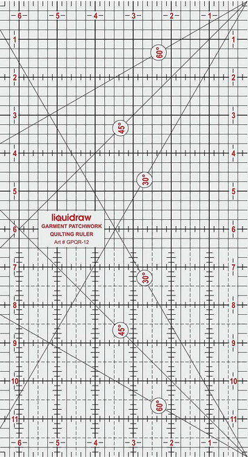 """Patchwork Quilting Ruler, 6"""" x 12"""""""