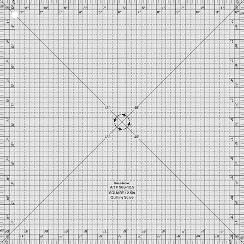 """Square Quilting Ruler, 12.5"""" x 12.5"""""""