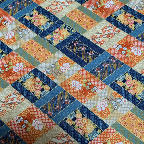 Diamond Patchwork Blue and Orange