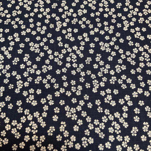 Linen-feel Indigo/Natural Cherry Blossoms