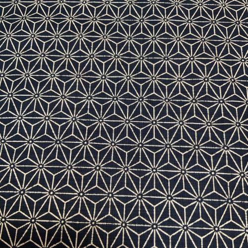 Linen-feel Indigo/Natural Asanoha