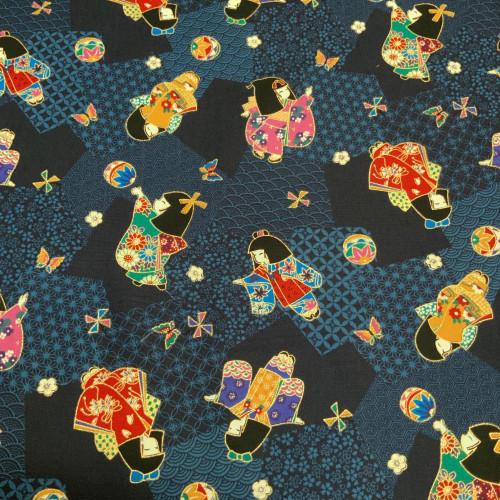 Furisode (long sleeve kimono) Blue