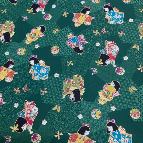 Furisode (long sleeve kimono) Green