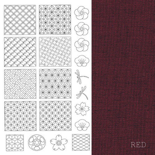 Sashiko Panel Red