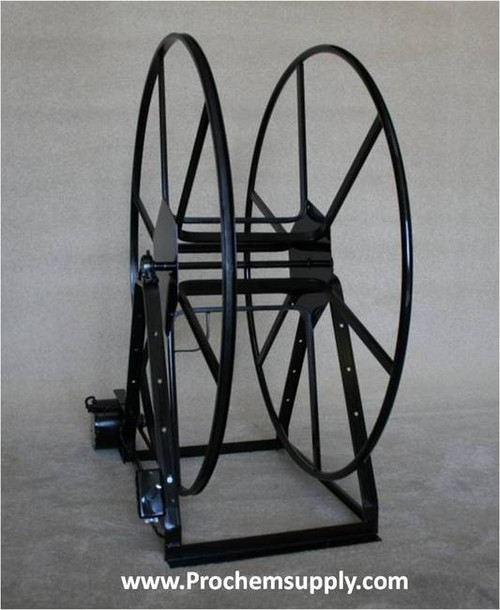 Rokan: ELECTRIC Vacuum Hose Reel, 250', V49-250-E | Carpet Cleaning Hose Reels | With the push of a button, the electric motor quickly winds up the hose, saving time and effort.  All reels are pre-drilled to accept our solution reels and are fully compatible with all our hose reel accessories.  Reels are fully assembled and include 12 volt dc motor, drive belt, pre-wired switch and power leads. 12 volt time-delayed fuse required.
